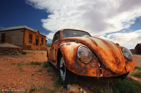 Painted VW Beetle outside Peter Browne gallery. Silverton, Outback NSW, Australia