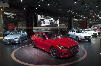 The Genesis vehicles display is seen during the 2017 North American International Auto Show in Detroit, Michigan, January 10, 2017. / AFP / SAUL LOEB (Photo credit should read SAUL LOEB/AFP/Getty Images)